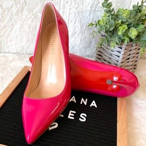 Sunetedance Shoes - Beautiful Pink Patent Leather Pointed Red Bottoms